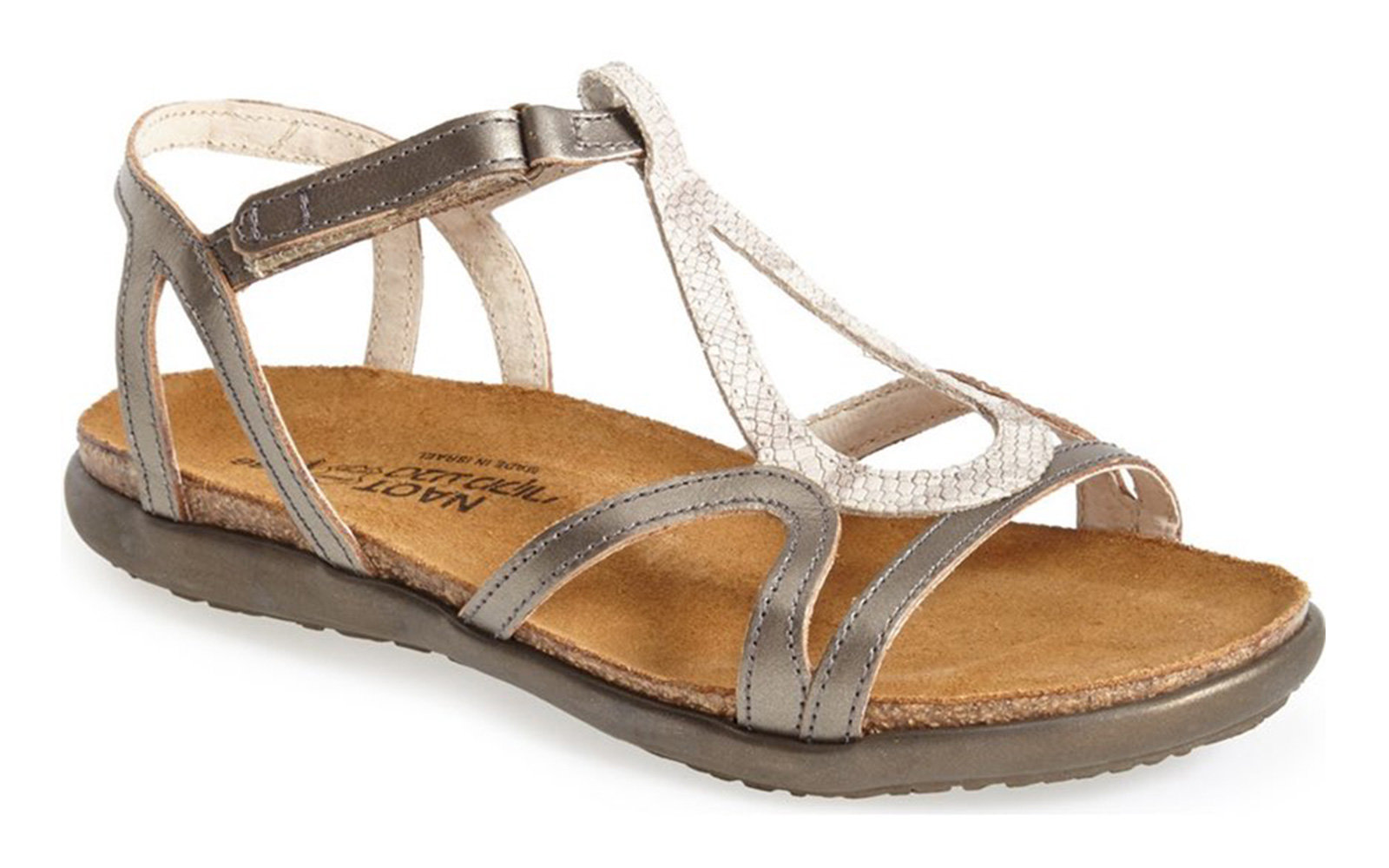 3a8679da3e4b Naot Dorith Sandal in Beige Snake Pewter. Beach Vacation Sandals
