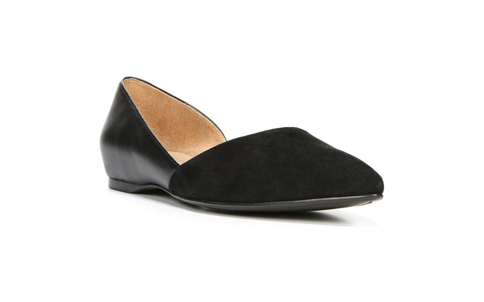 6f9a7c46a82 Naturalizer Samantha Half d Orsay Flat in Black Leather
