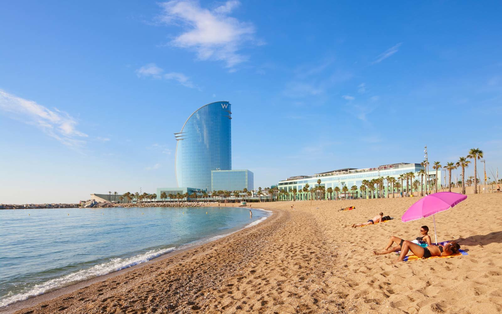 Barcelona Beach with Umbrella