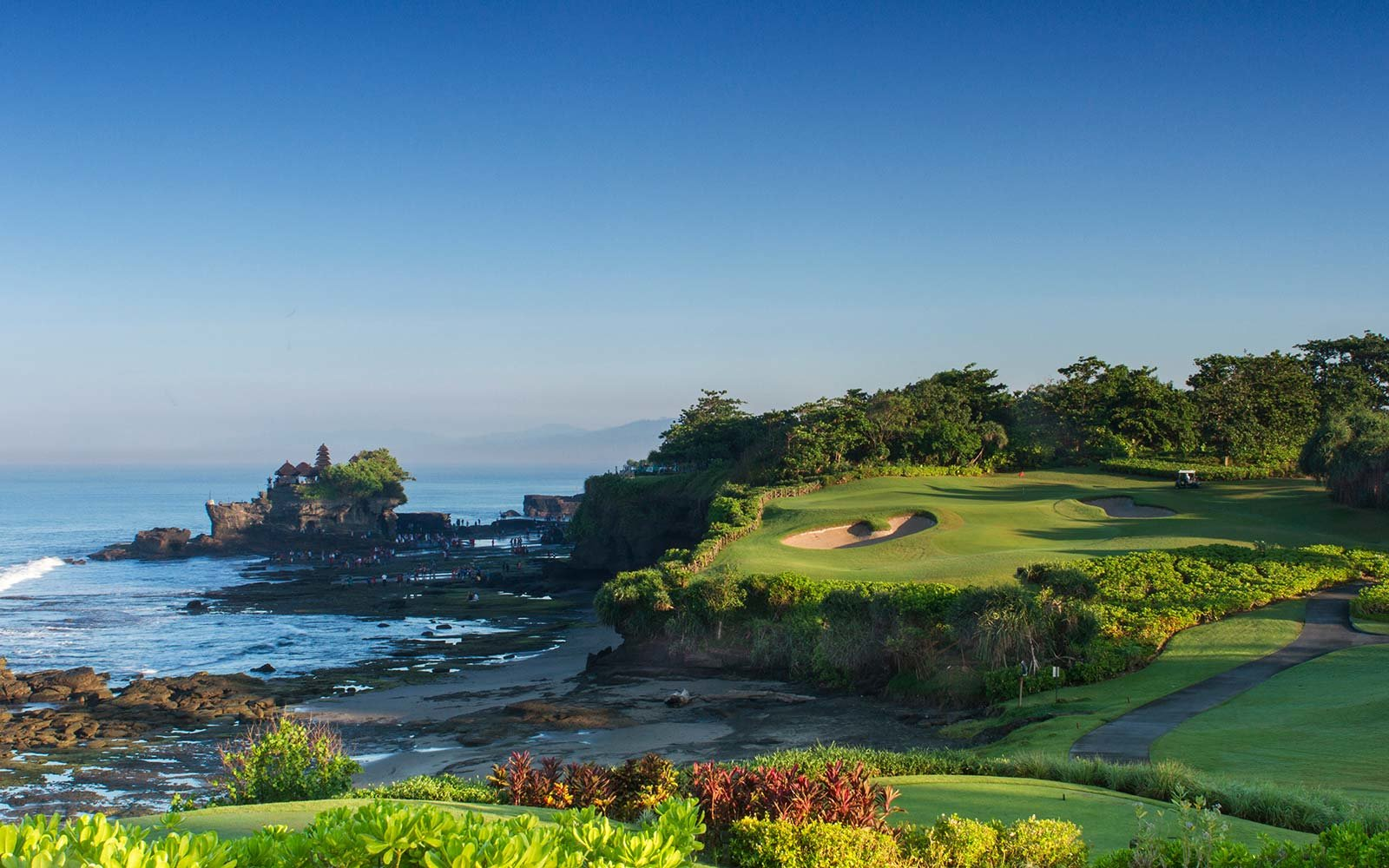 Trump Hotel golf course Tanah Lot temple Bali.