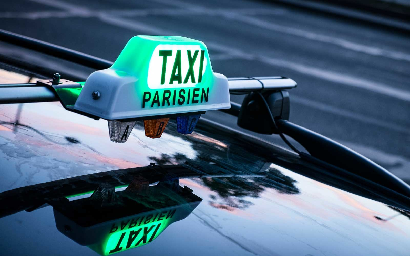 Taxi in the downtown of Paris, France.
