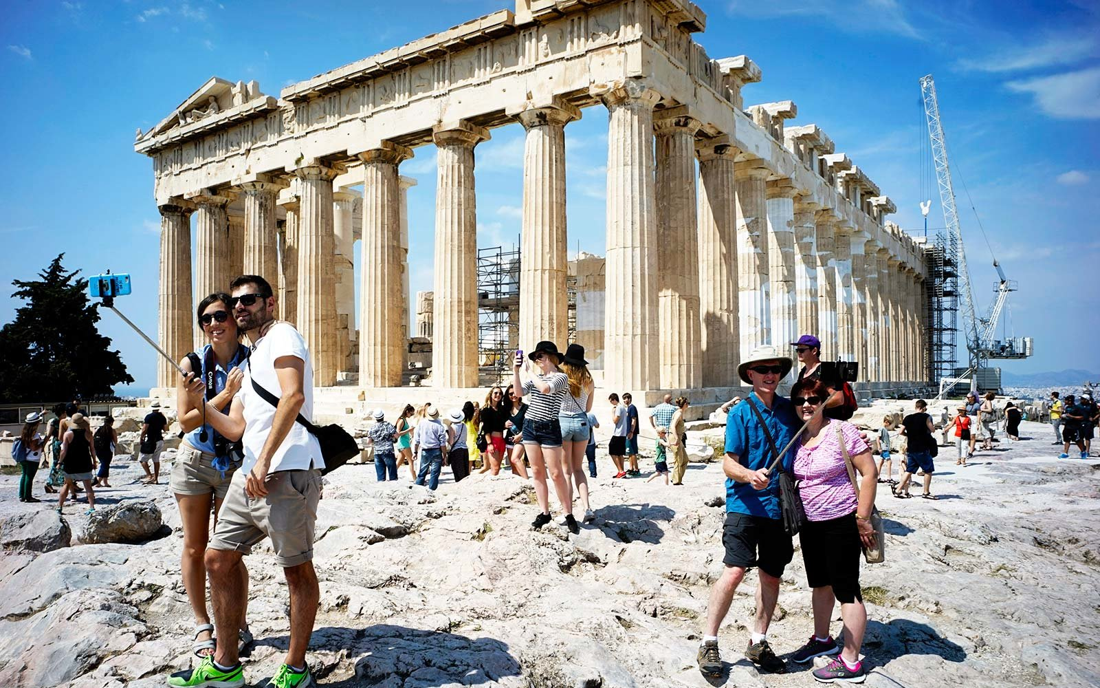Acropolis Parthenon Temple Greece Tourists