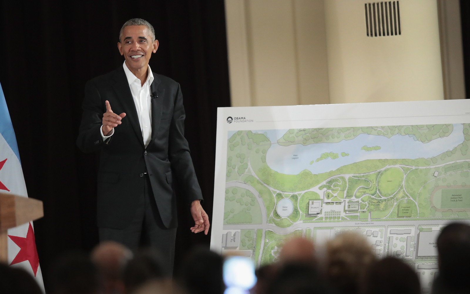 CHICAGO, IL - MAY 03:  Former President Barack Obama points out features of the proposed Obama Presidential Center, which is scheduled to be built in nearby Jackson Park, during a gathering at the South Shore Cultural Center on May 3, 2017 in Chicago, Ill