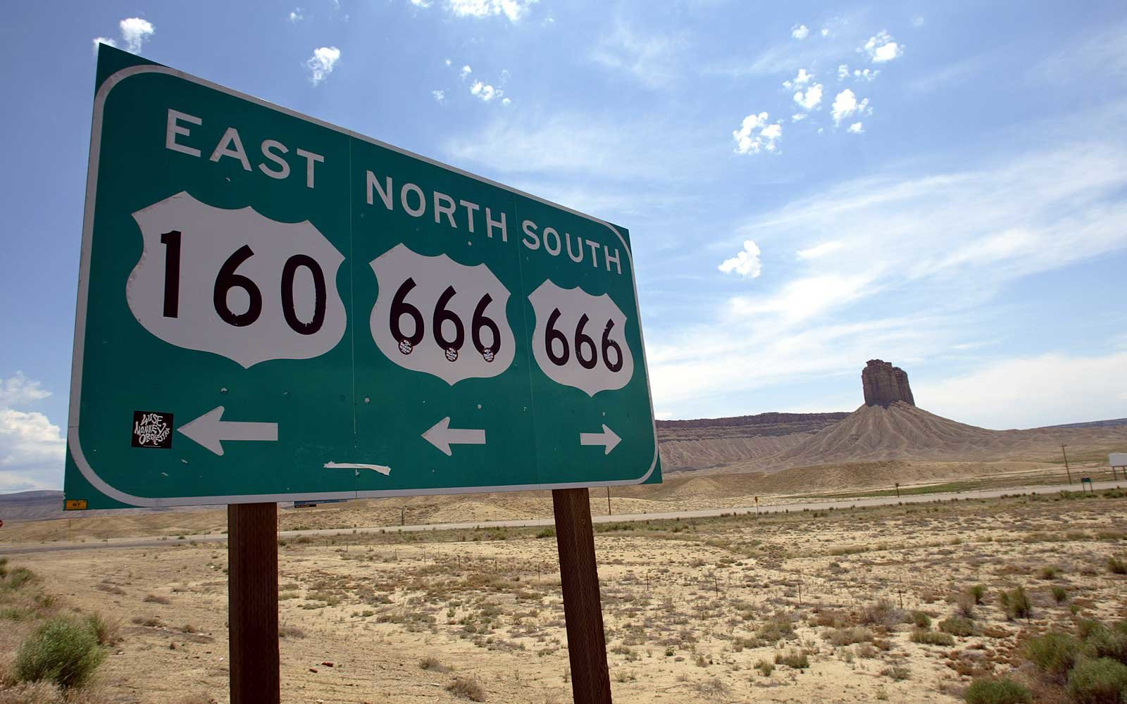 A highway sign in southeast Colorado lists Route 666 which goes nearly 200 miles through parts of New Mexico, Colorado and Utah