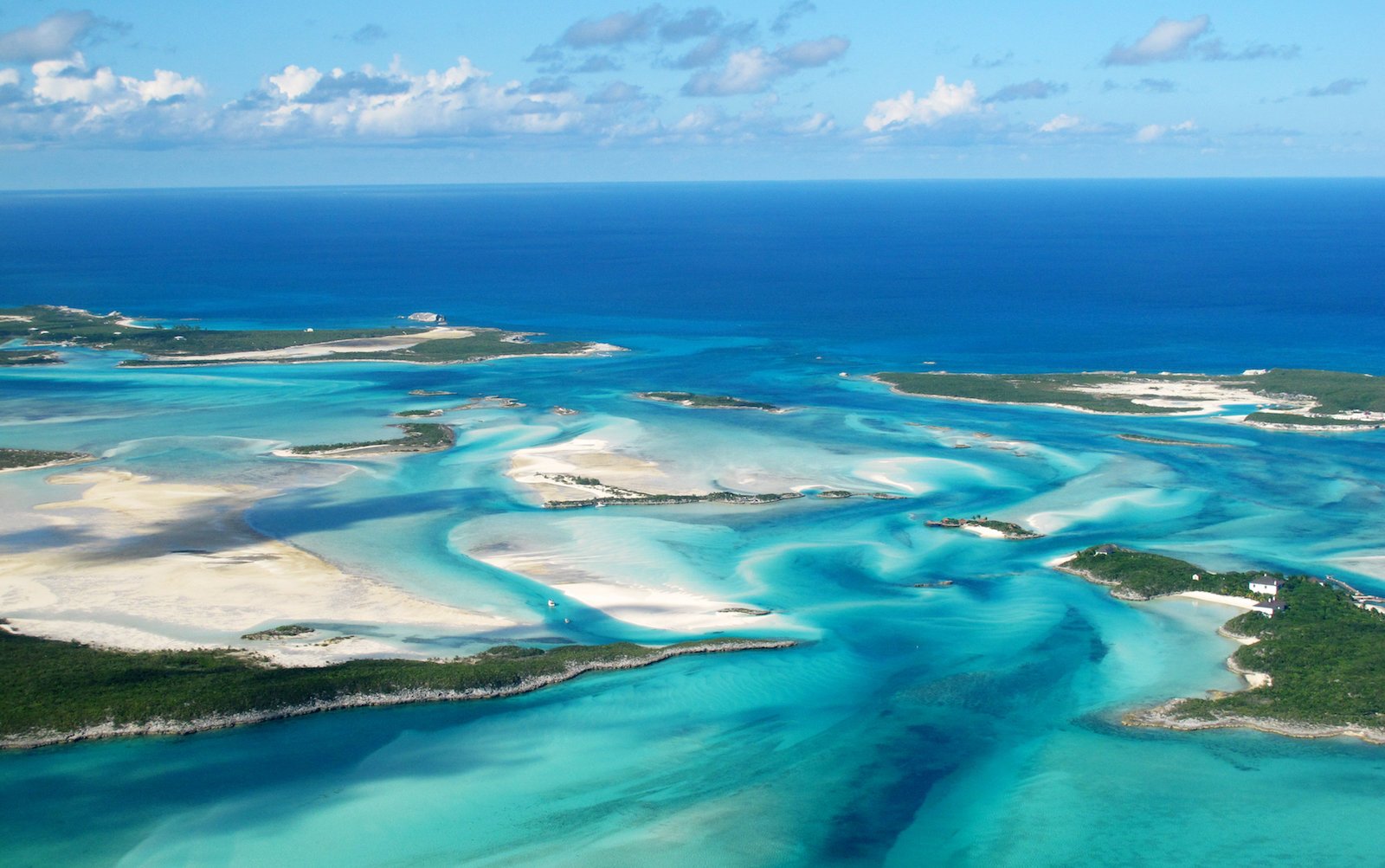 Aerial view of Exumas, Bahamas
