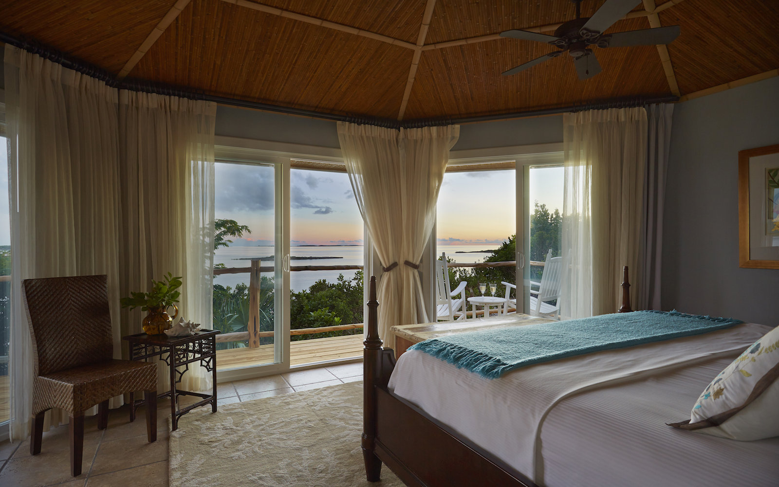 A water-view room at the Fowl Cay Resort in Exumas Bahamas