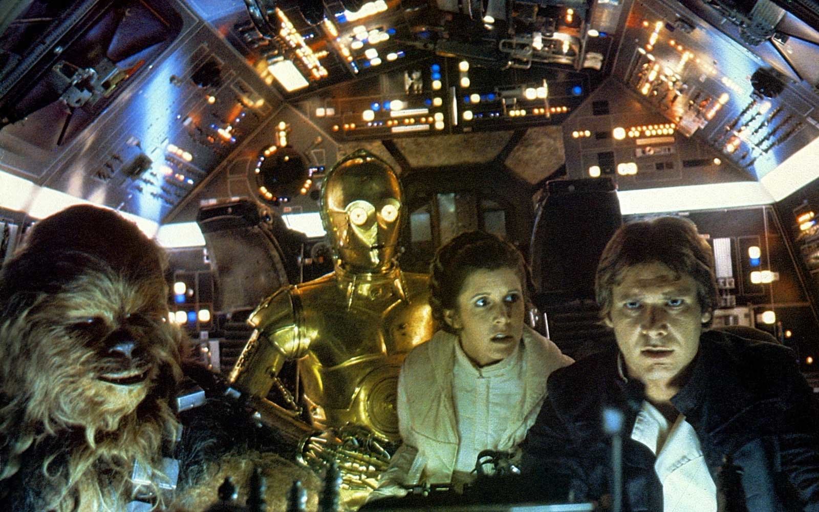 CHEWBACCA C3PO CARRIE FISHER & HARRISON FORD STAR WARS: EPISODE IV - A NEW HOPE (1977)
