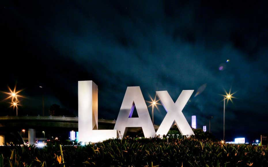 Los Angeles International Airport LAX Sign in Los Angeles, California.