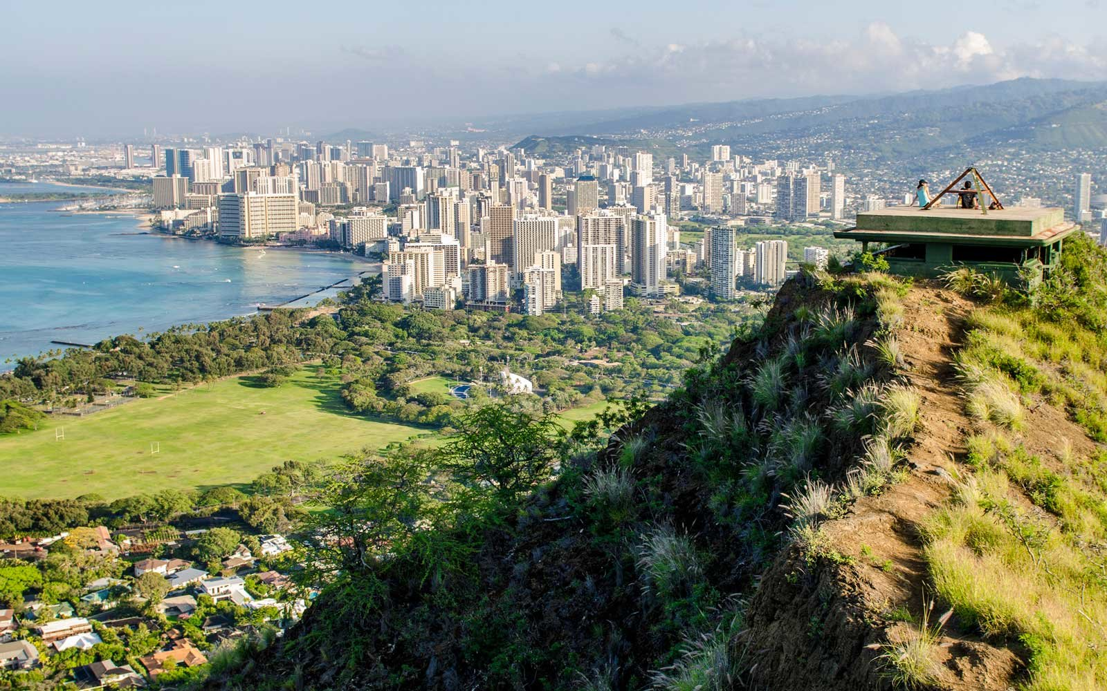 Honolulu From Atop Diamond Head State Monument Leahi Crater Oahu