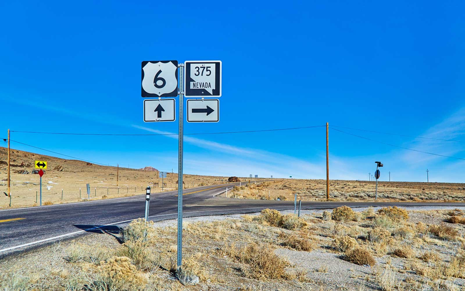 The sign post to signify the start of Highway 375, known as the ET Highway in Nevada,USA