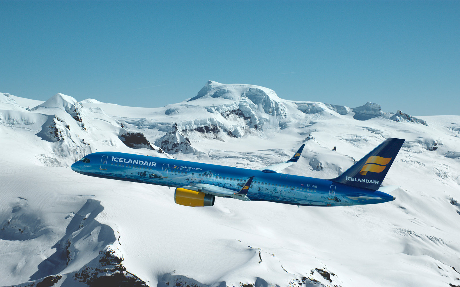 """Icelandair transformed a Boeing 757-200 into """"a flying piece of art inspired by the largest glacial mass in Europe."""""""
