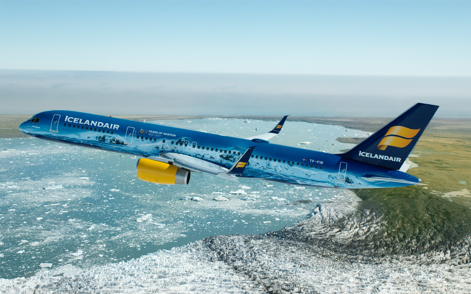 "Icelandair transformed a Boeing 757-200 into ""a flying piece of art inspired by the largest glacial mass in Europe."""