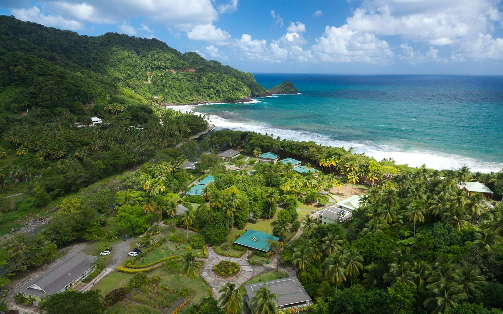 aerial view of Rosalie Bay in Dominica