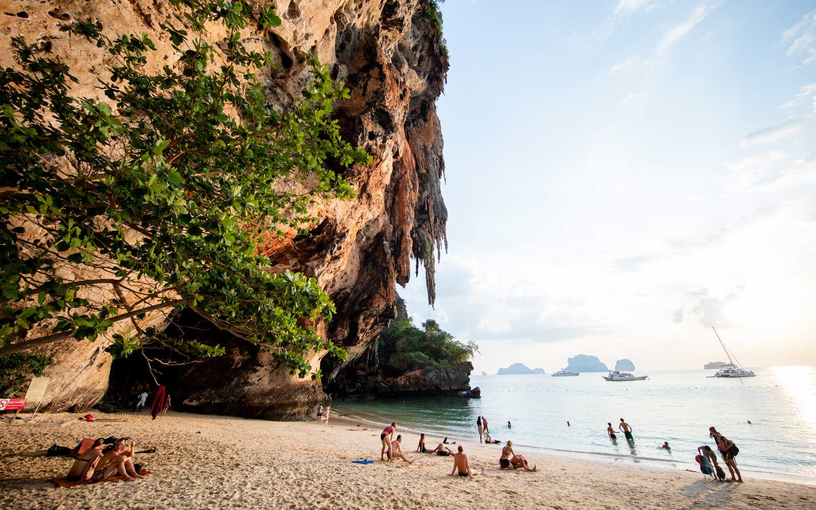 The cliffs at Railay Beach, sunset, Thailand.