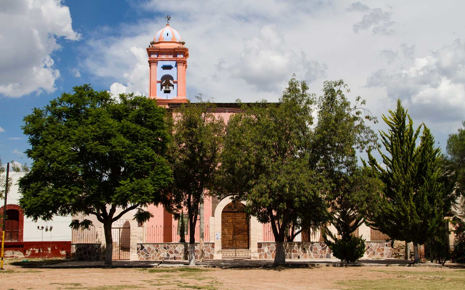 Guanajuato, Mexico: View of the church in Trancas from the front door of Hacienda las Trancas