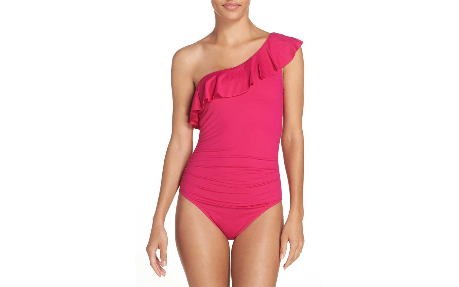 Macy's pink ruffle one shoulder swimsuit