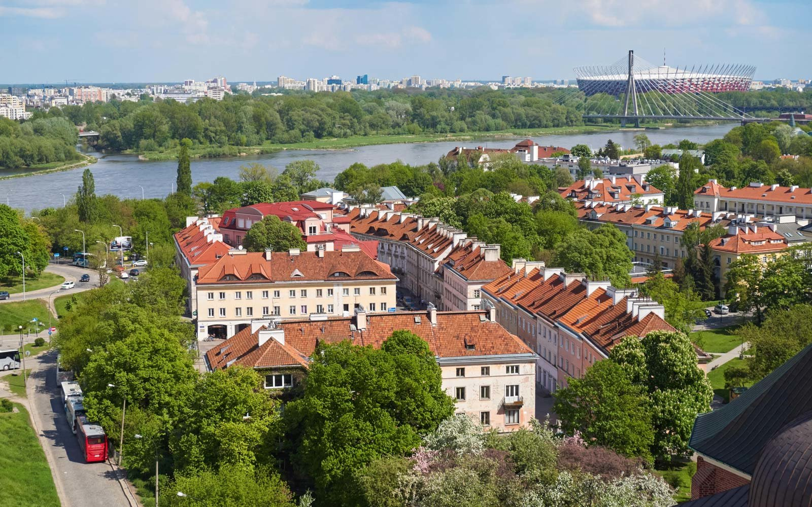 Scenic view of Warsaw and the Vistula River