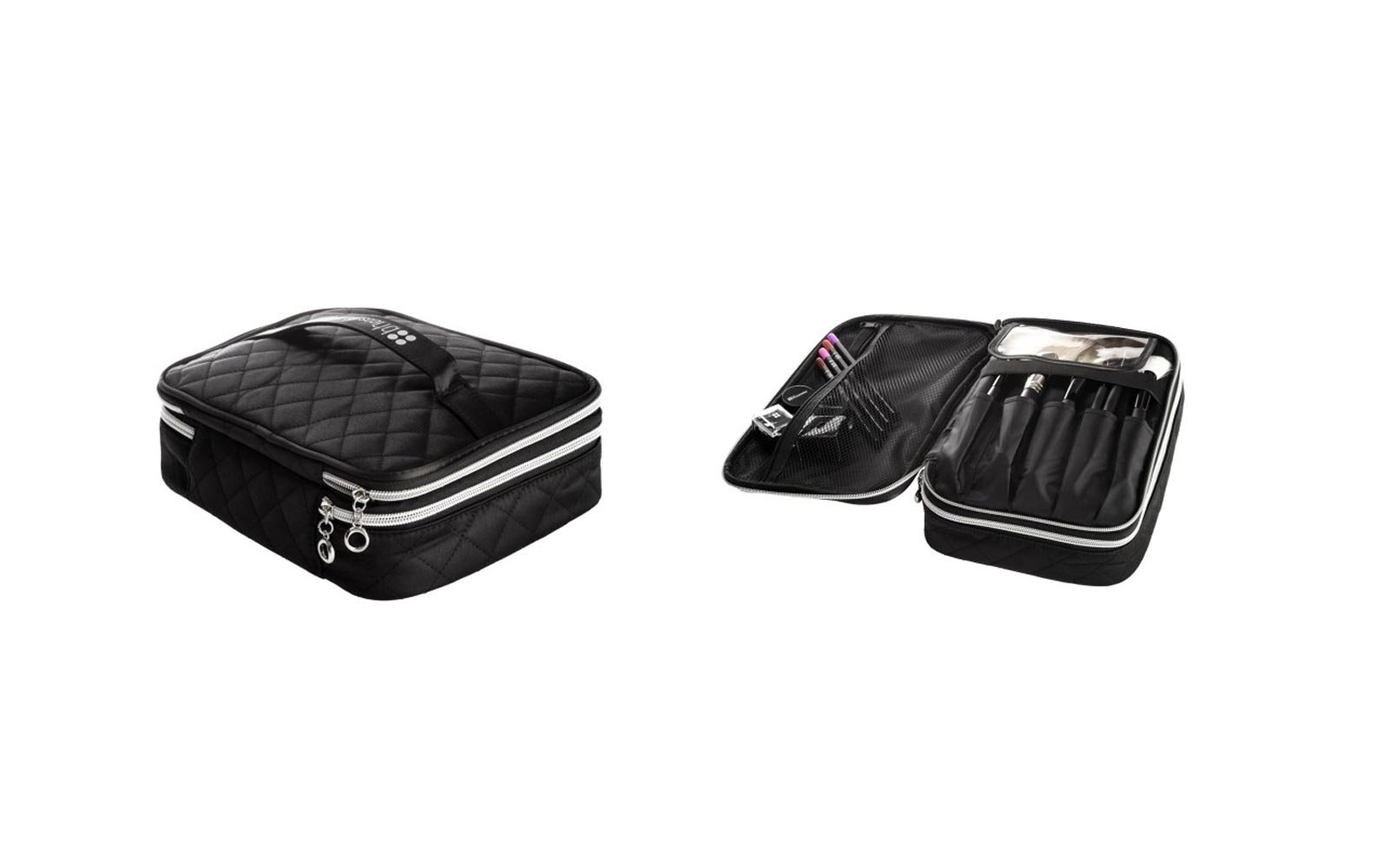 Makeup bag with compartments for brushes