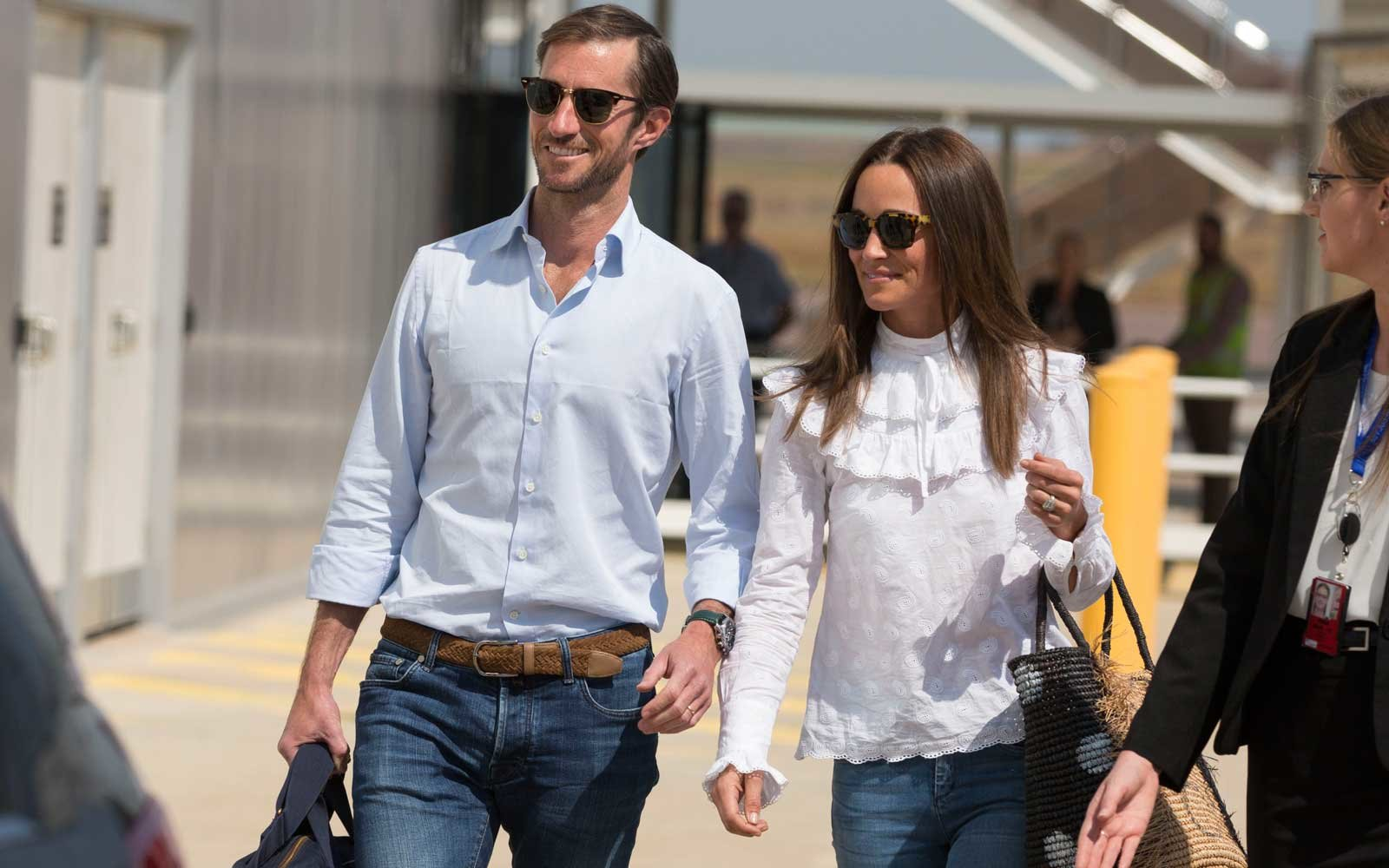Newly married James Matthews and Pippa Middleton arrive into Darwin International Airport in Darwin, Northern Territory