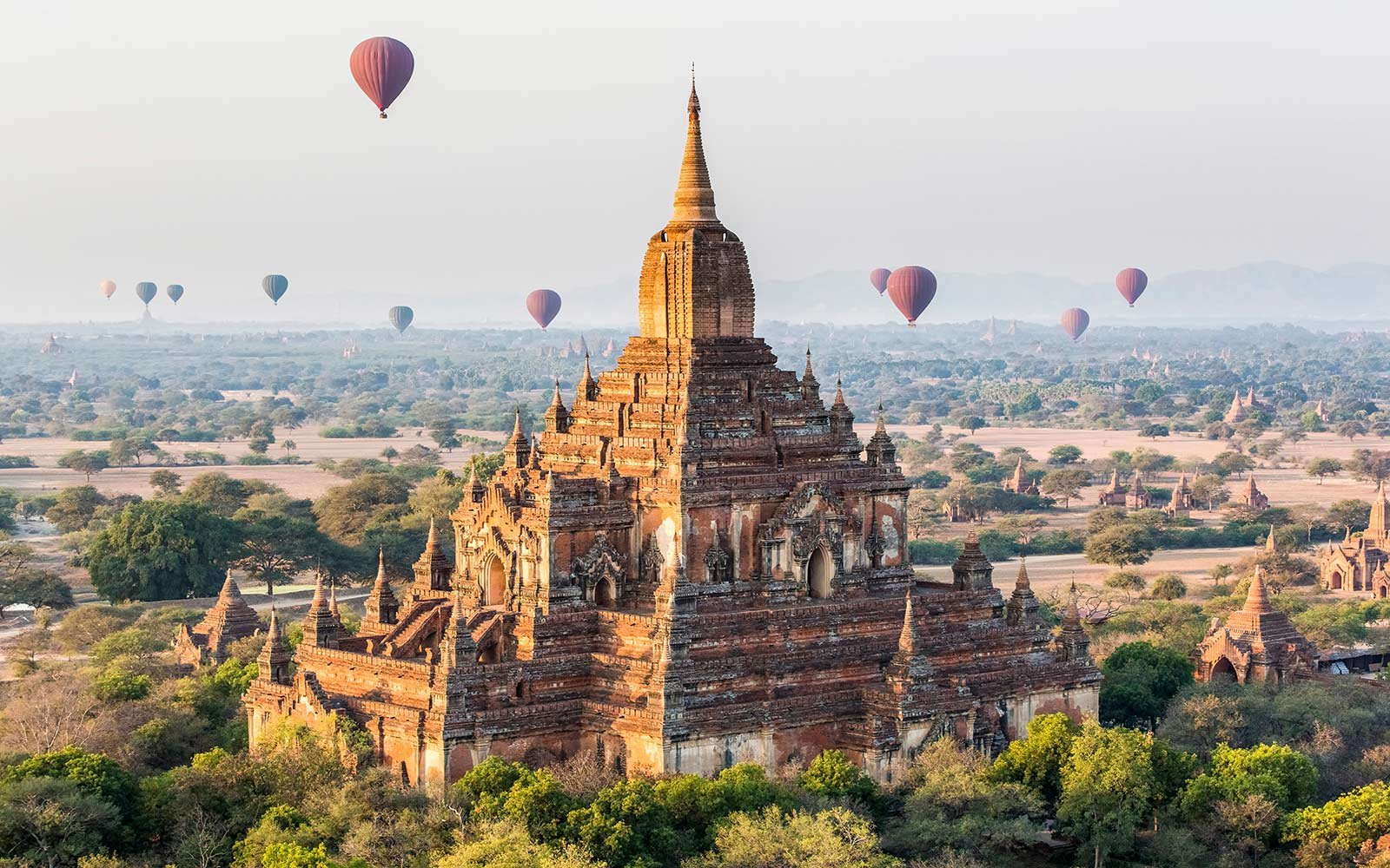 Hot air balloons and Sulamani Pahto temple, Bagan, Mandalay Region, Myanmar