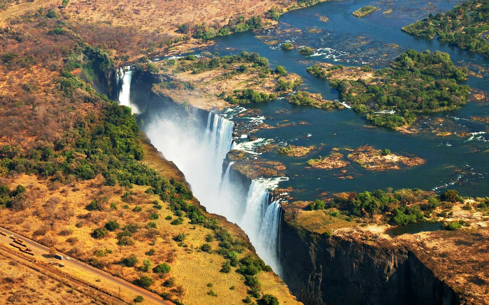 Victoria falls from an helicopter, Zambia, Zimbabwe.
