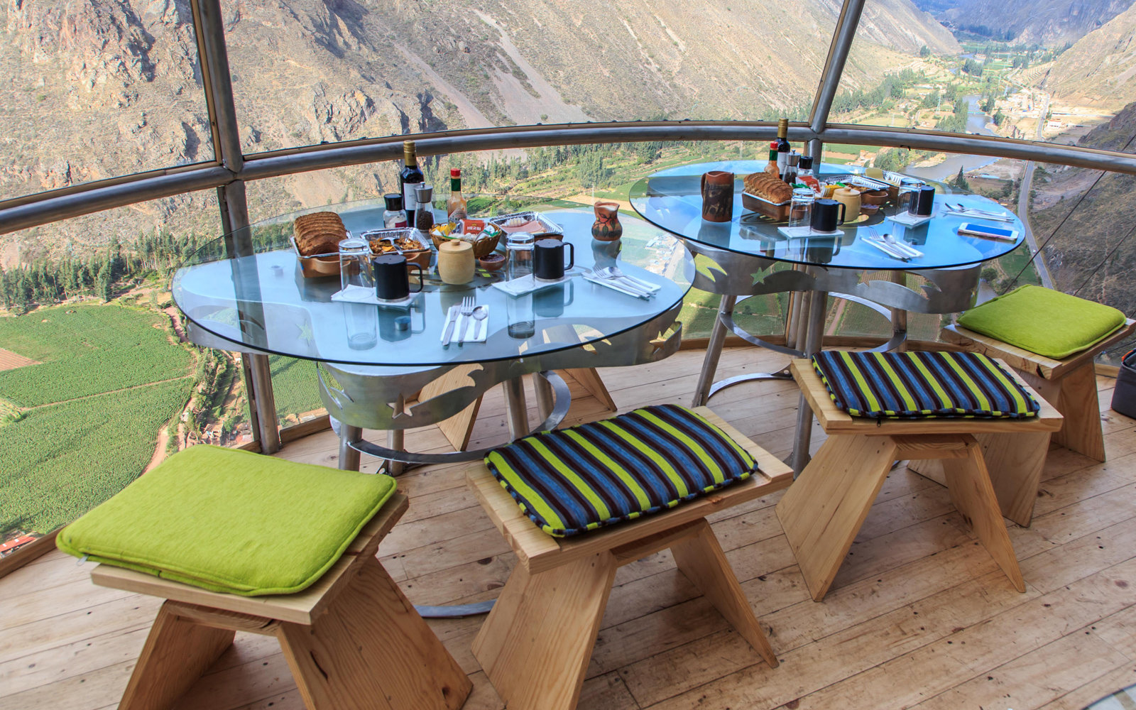 A dinner setting in one of the pods, high above the valley.