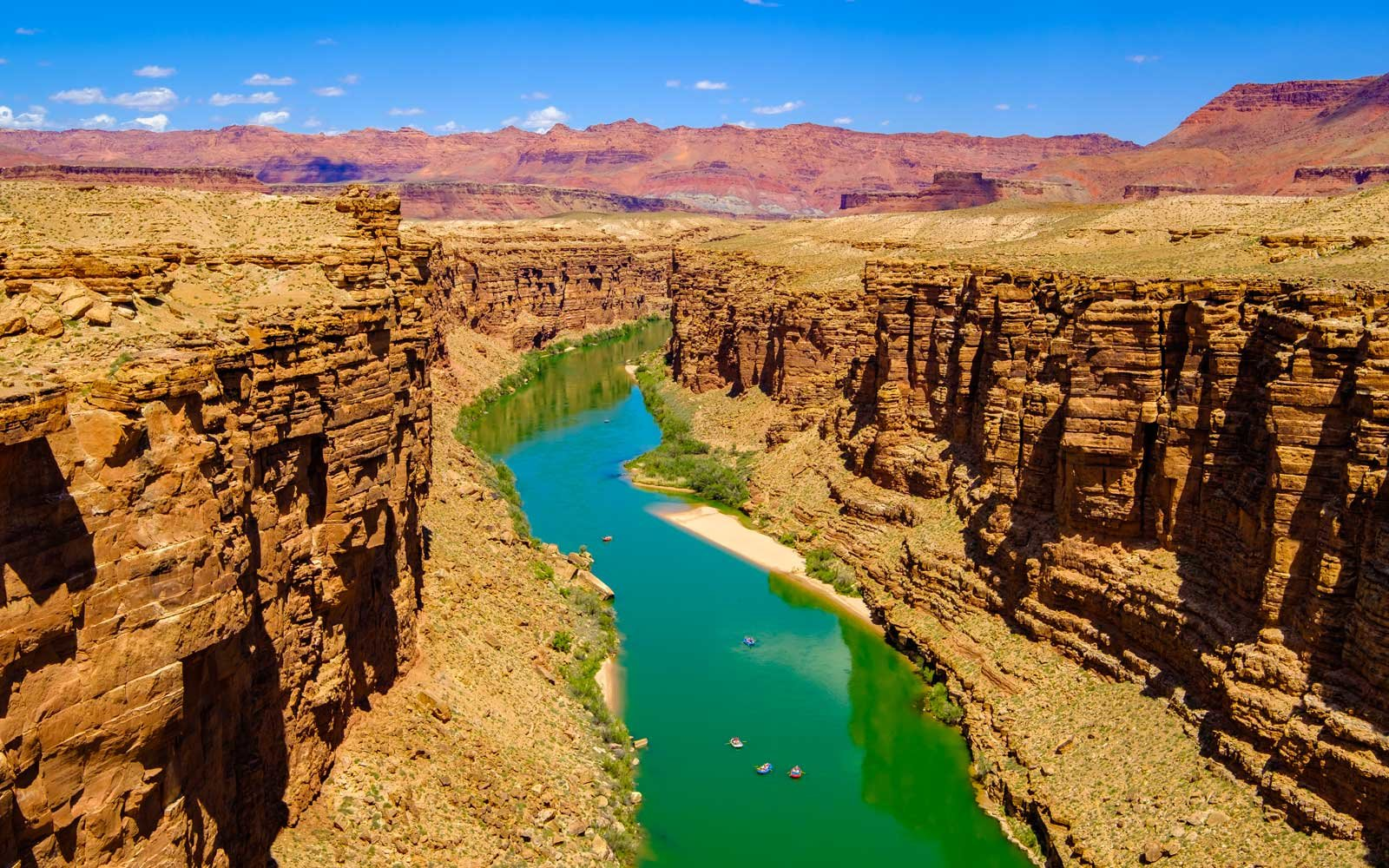 Colorado River flows through Marble Canyon in Arizona.