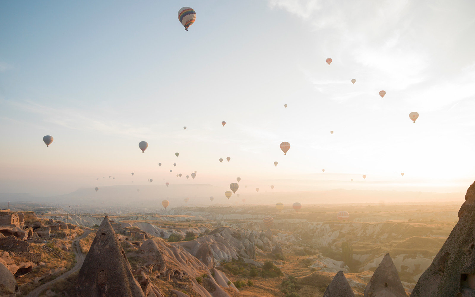 Hot Air Balloons, Desert Landscape, Cappadocia, Turkey