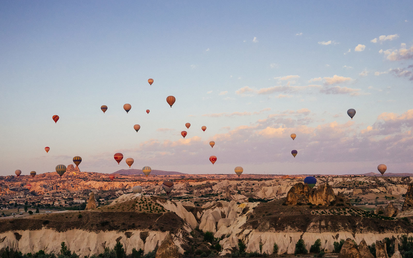 Hot Air Balloons, Above Desert Landscape, Cappadocia, Turkey