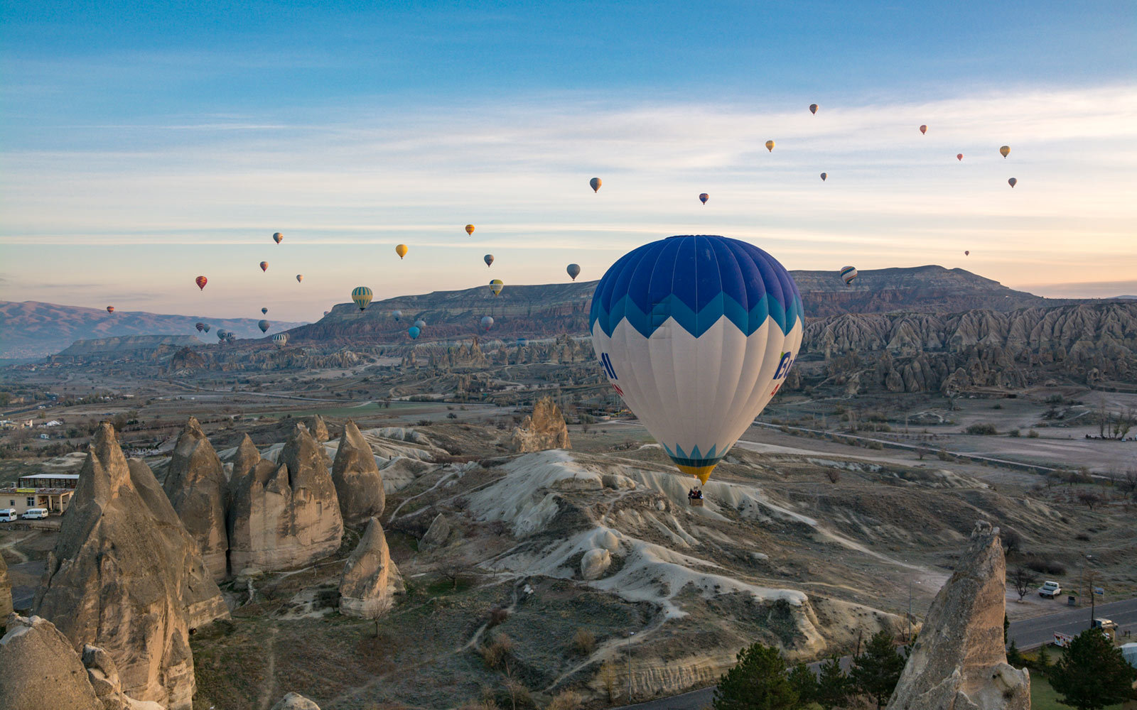 Hot Air Balloons, Rock Formations, Nevsehir, Cappadocia, Turkey