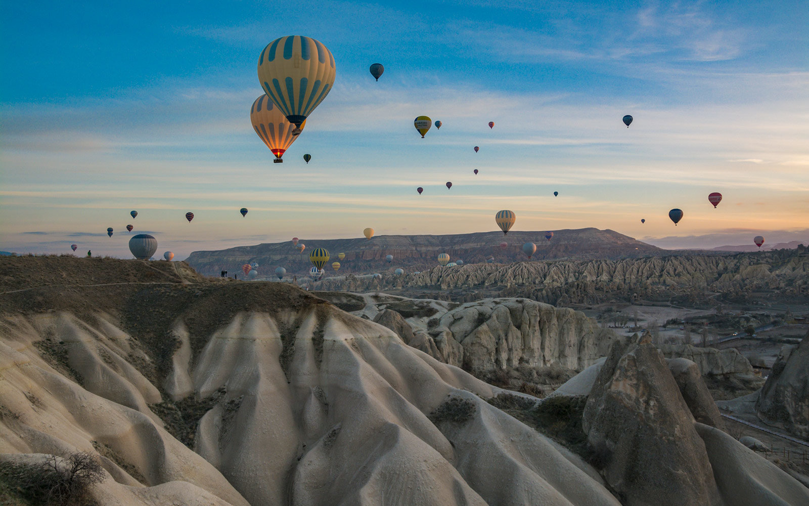 Hot Air Balloons, Dusk, Cappadocia, Turkey