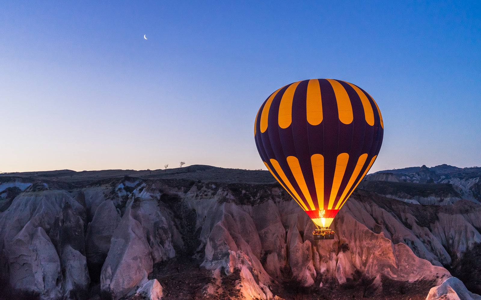 Hot Air Balloons, Evening Moon, Cappadocia, Turkey
