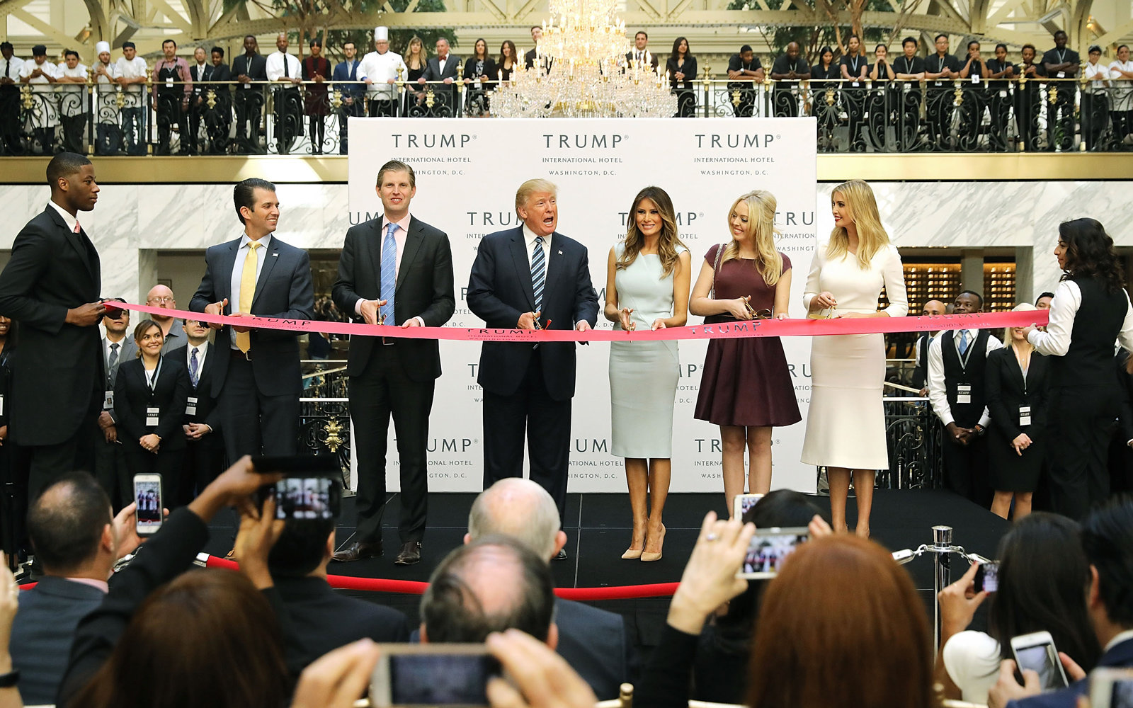 Donald Trump and his family cut the ribbon at the new Trump International Hotel Oct. 26, 2016 in Washington, D.C.