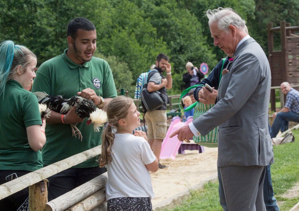 IPSWICH, UNITED KINGDOM - JUNE 05: Prince Charles, Prince of Wales, Patron, The Rare Breeds Survival Trust, visits Jimmy's Farm to meet the trust's new President, Jimmy Doherty, and find out more about his farm's education and rare breeds programme on Jun
