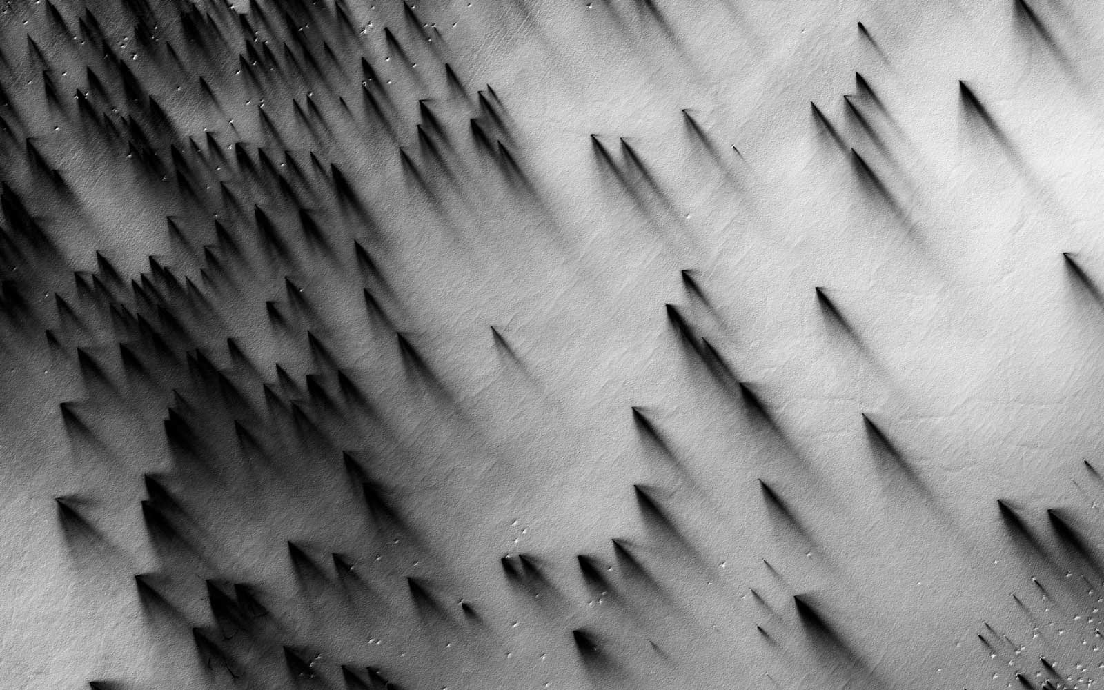 Polar Region of the South, Fans and Polygons, LAT: -87.3° LONG: 168°; from This Is Mars (Aperture, 2017)
