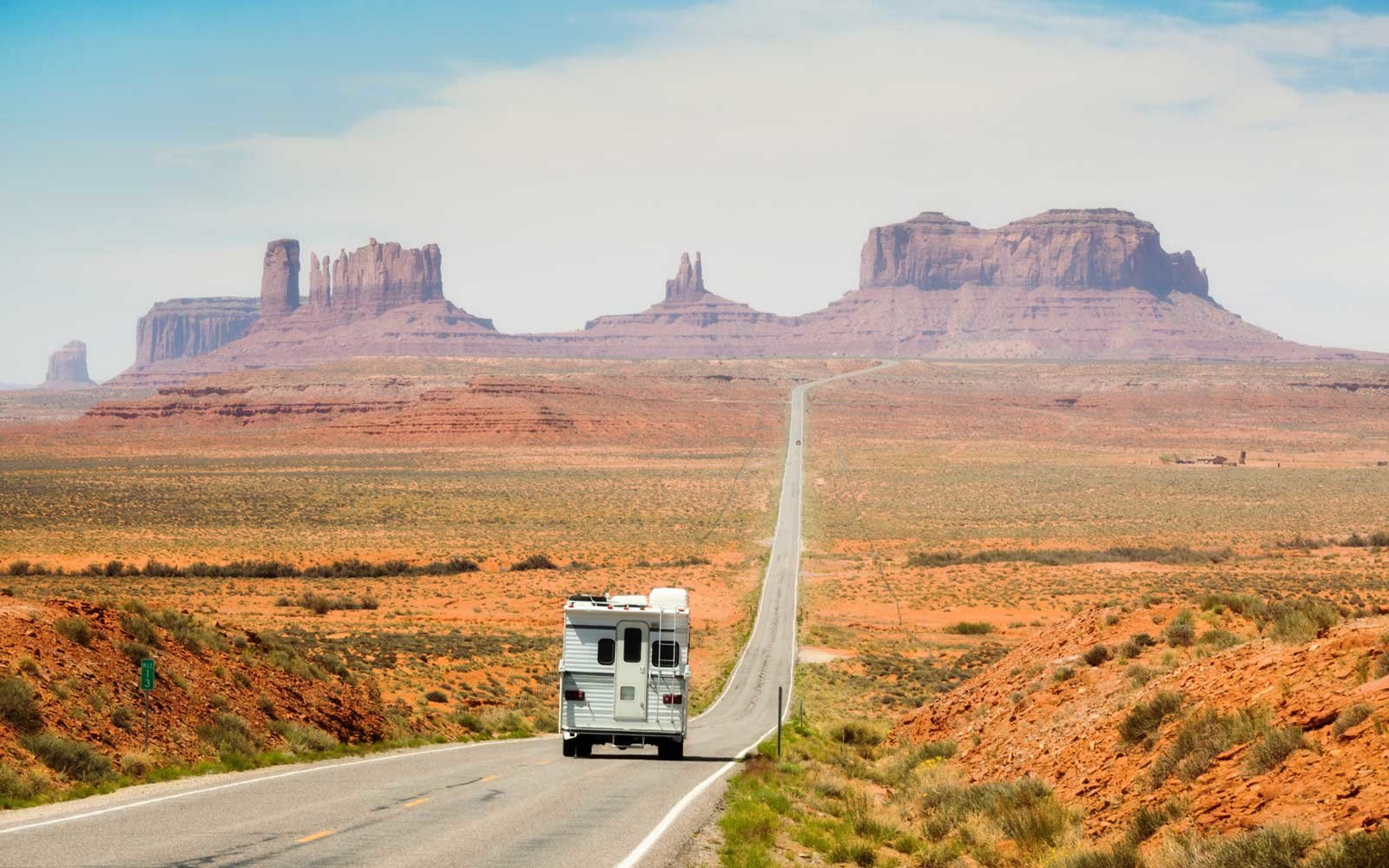 American Southwest on a highway road trip near Monument Valley Tribal Park.