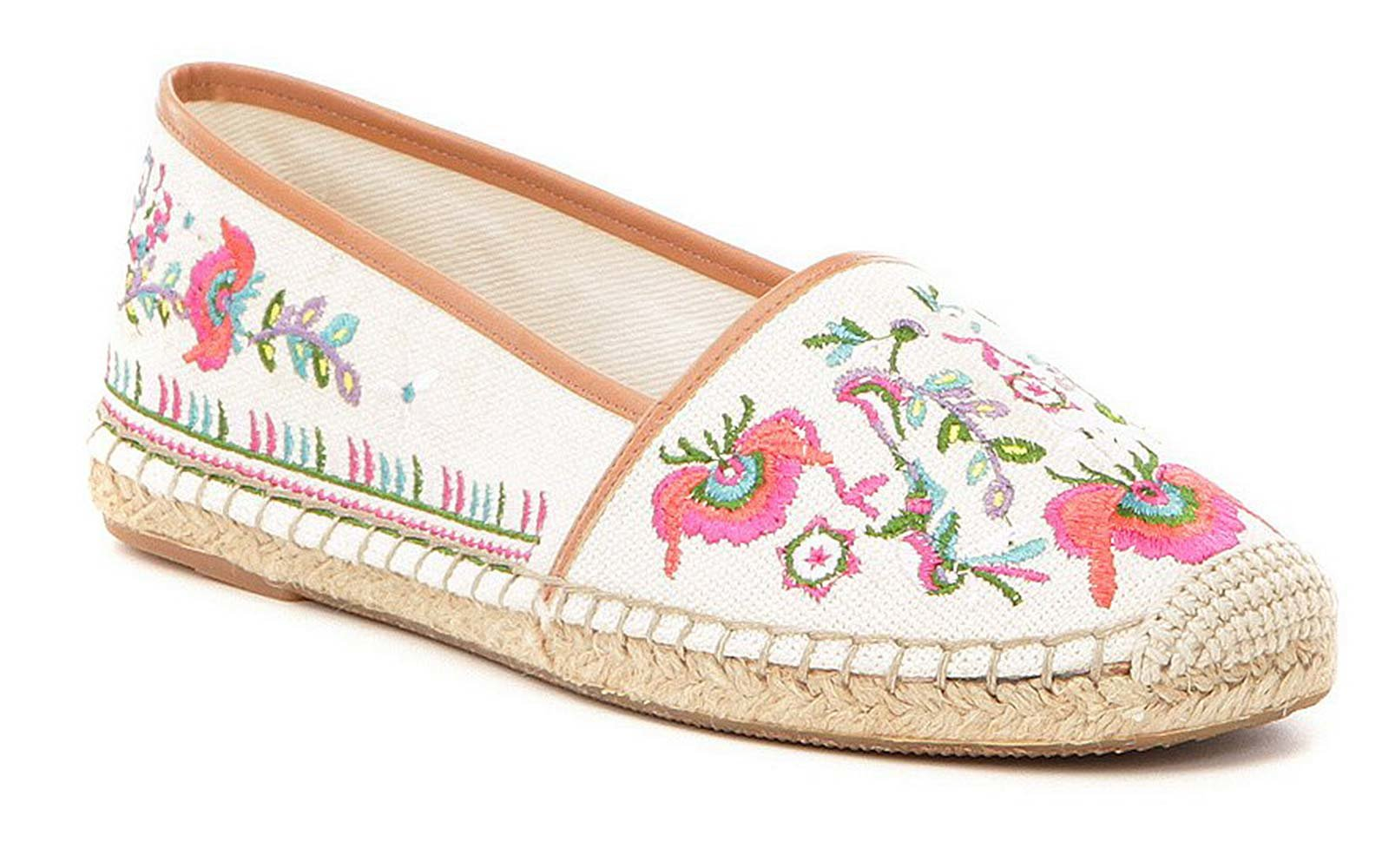 Gianni Bini Pema Floral Embroidered Canvas Espadrille Flats