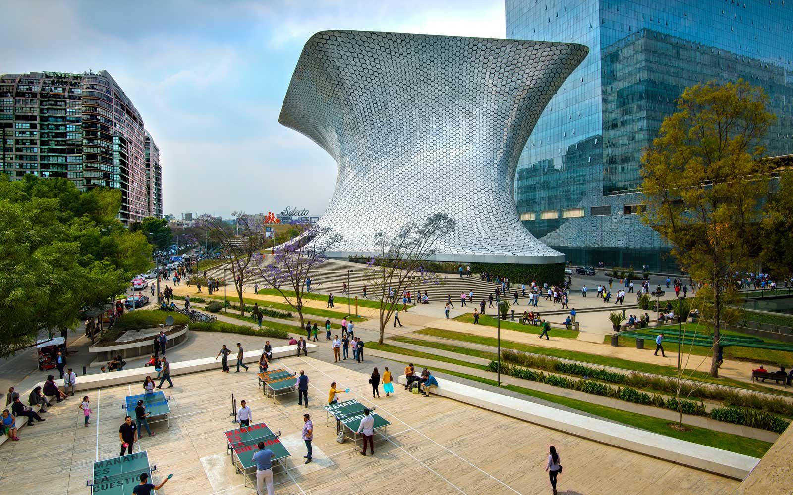 Soumaya Musuem stands in Plaza Carso in the Polanco district of Mexico City