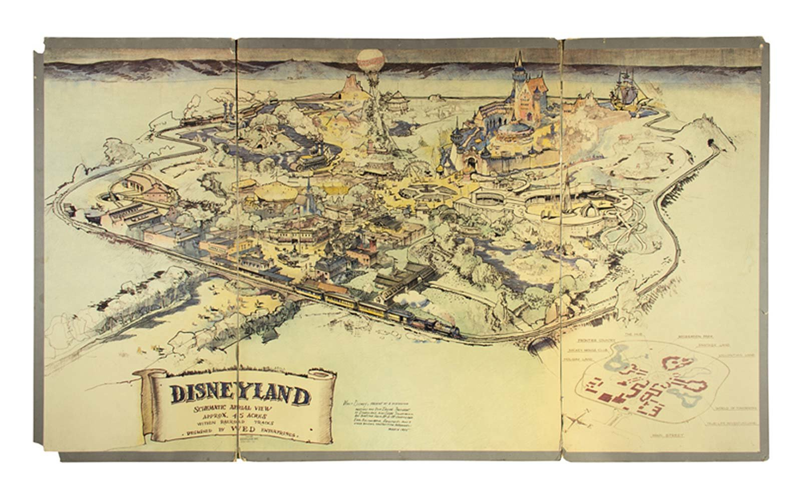 1953 Map of Disneyland Park California Auction