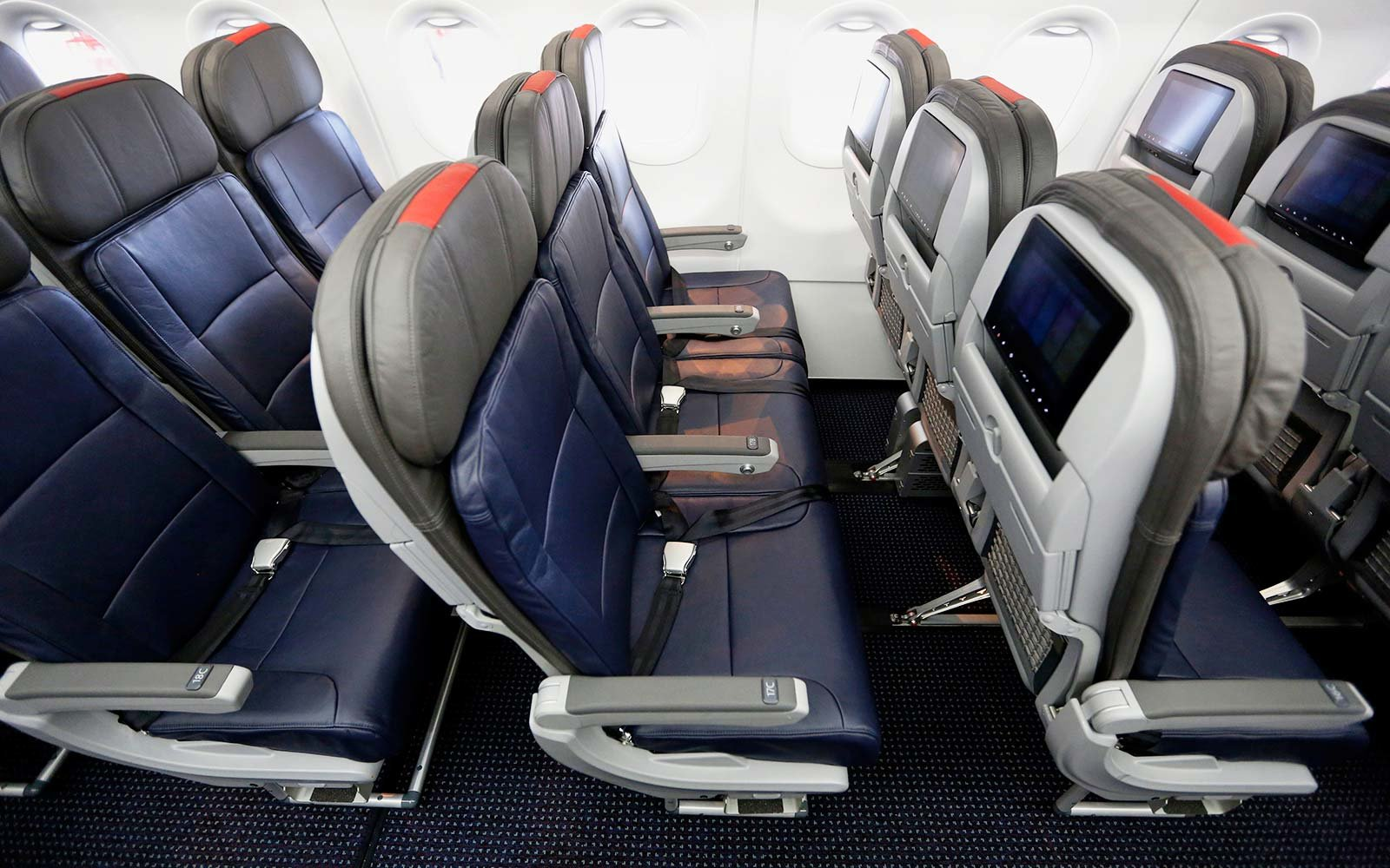 Seats on the American Airlines airplane