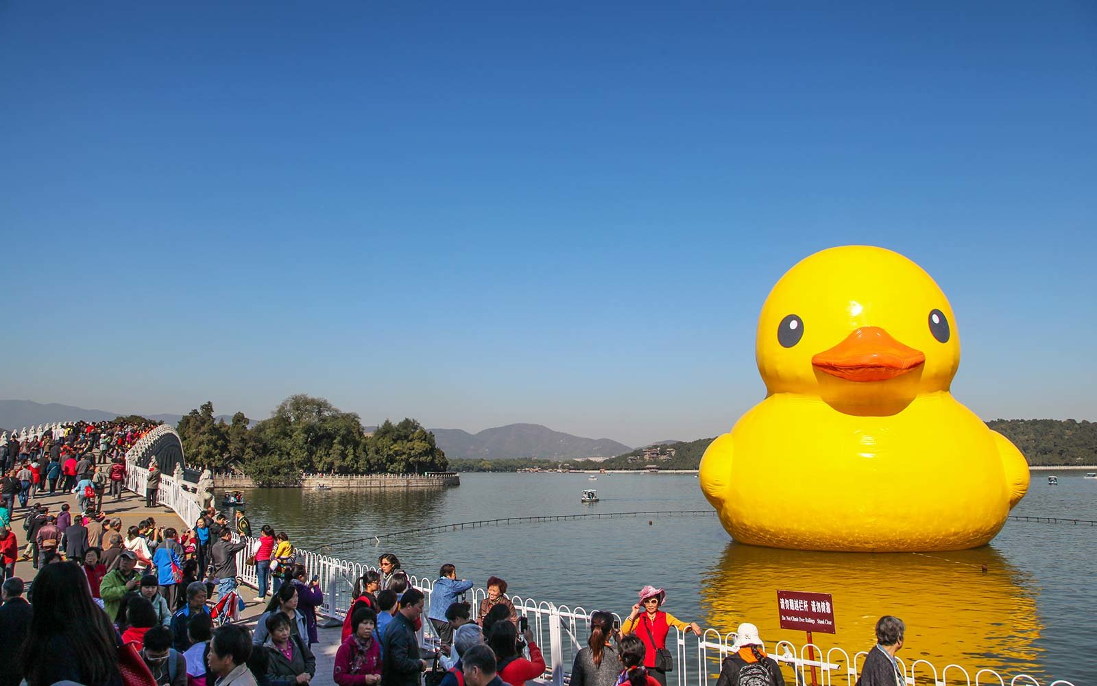 Rubber duck sits in the Summer Palace Kunming Lake in Beijing, China. Artist Florentijn Hofman