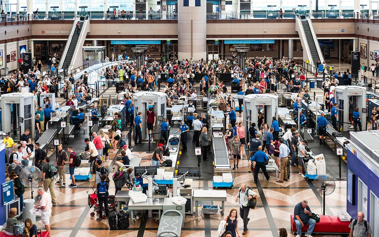 TSA Security checkpoint line Denver airport biometrics