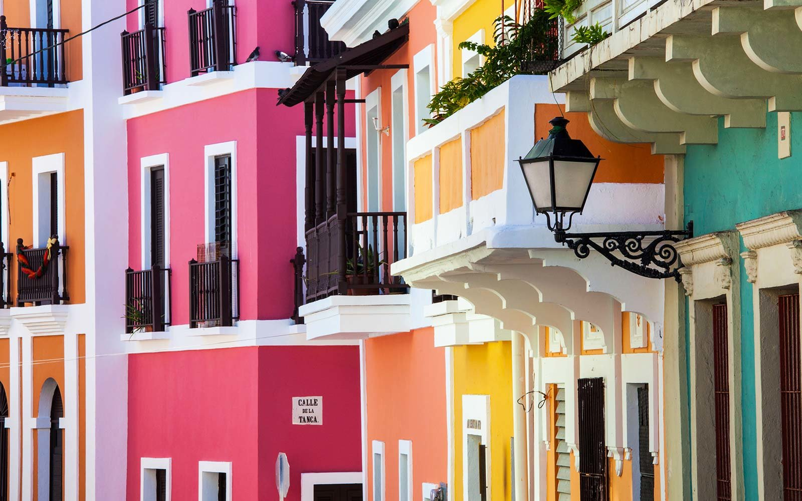 Colorful Houses Line San Sebastian Street in Old San Juan, Puerto Rico