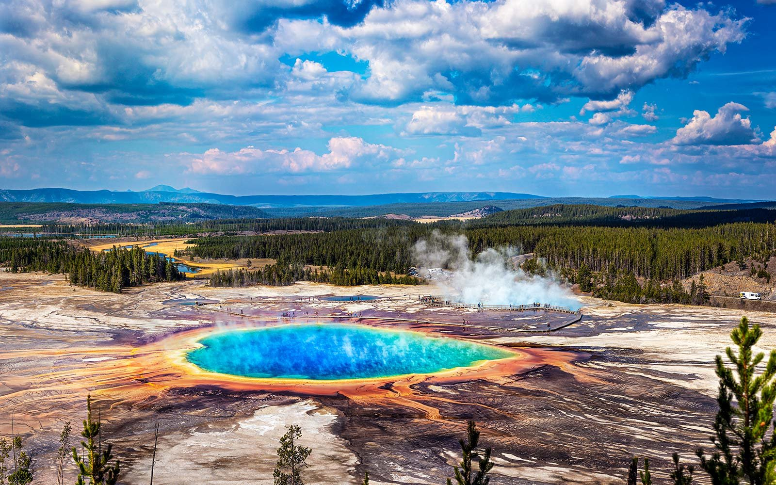Grand Prismatic Geyser, Yellowstone National Park. A colorful rainbow-colored geothermal prismatic spring in yellowstone national park