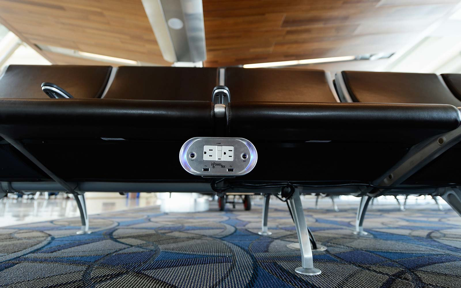Power outlets are placed under every bench of the new north concourse the Tom Bradley International Terminal at Los Angeles