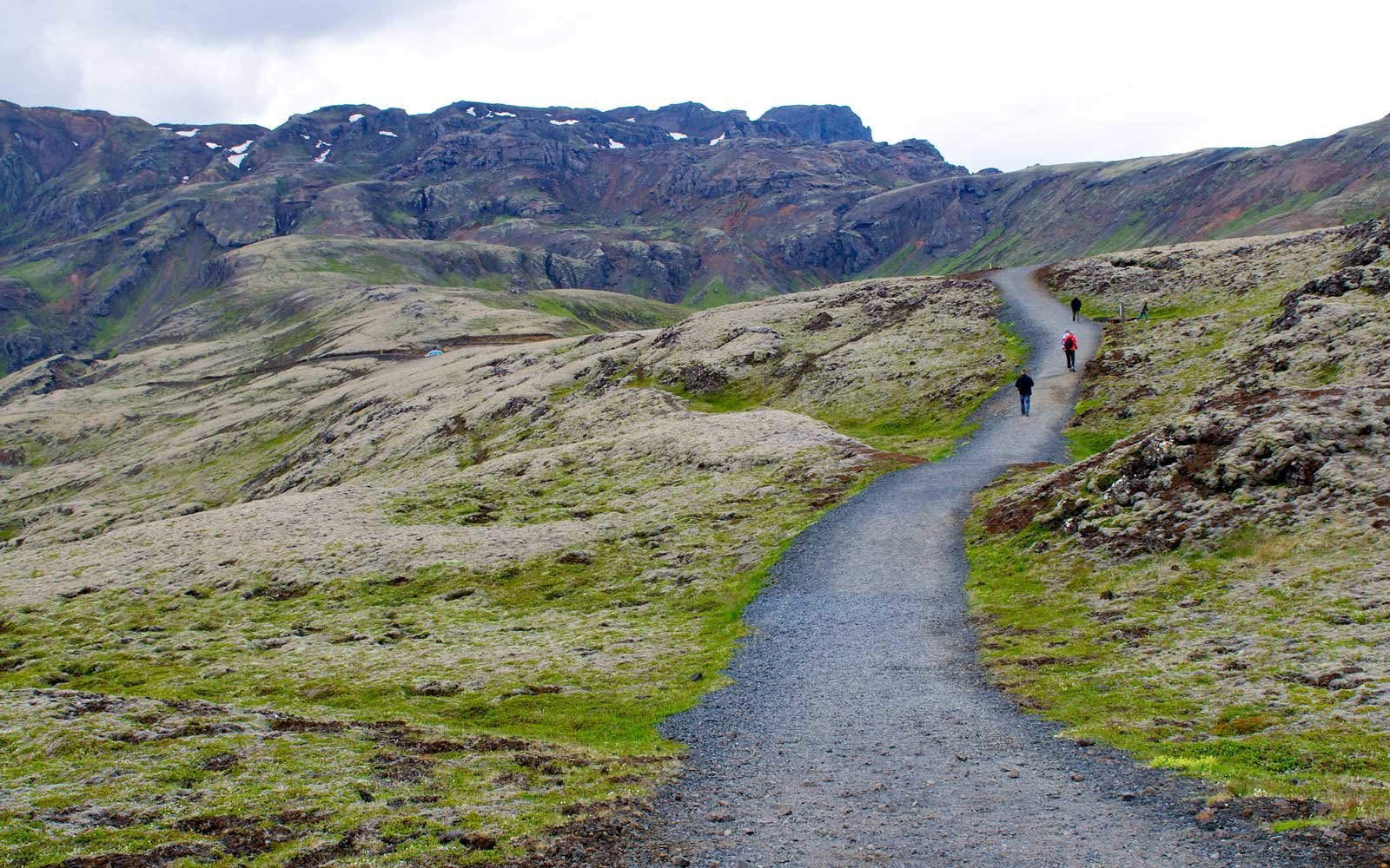A path of trekking in the moss covered volcanic hills near  Nesjavellir geothermal power plant in Iceland.