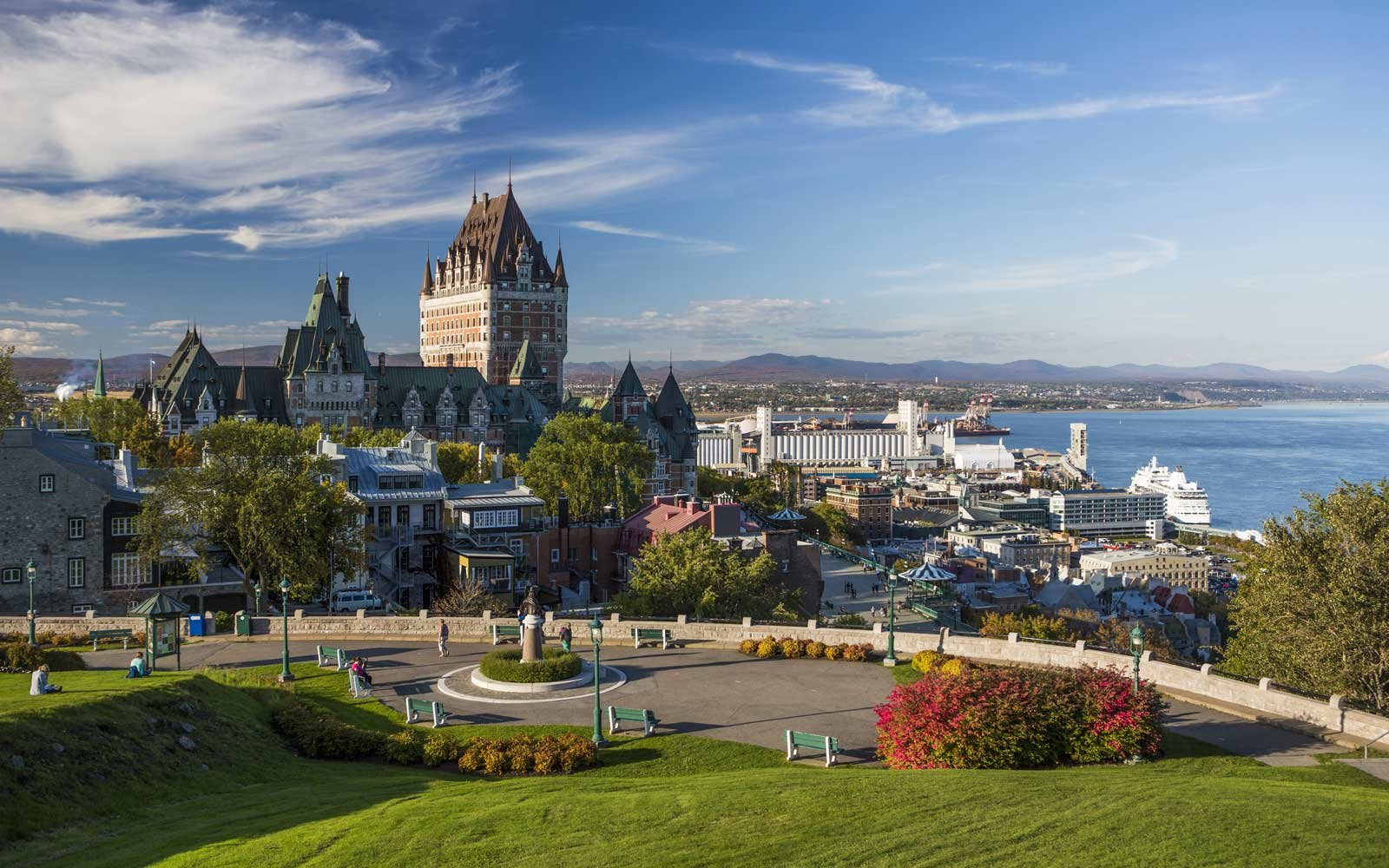 Canada, Quebec, View of Chateau Frontenac castle.