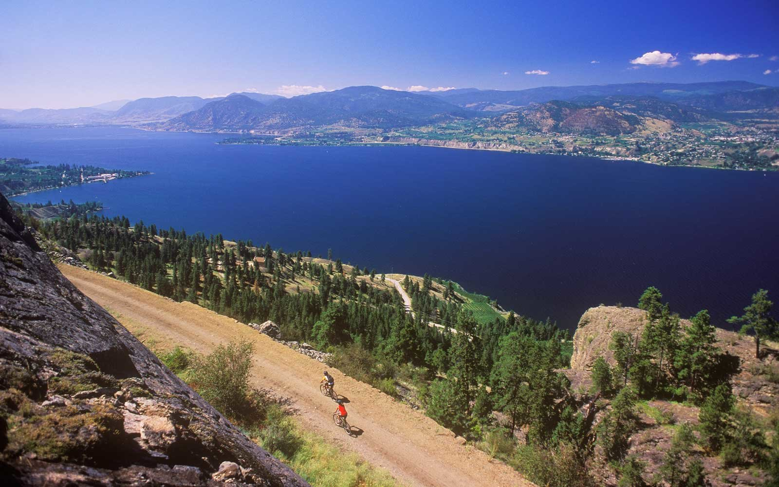 Cyclist on the Trans-Canada Trail, Penticton, British Columbia, Canada.