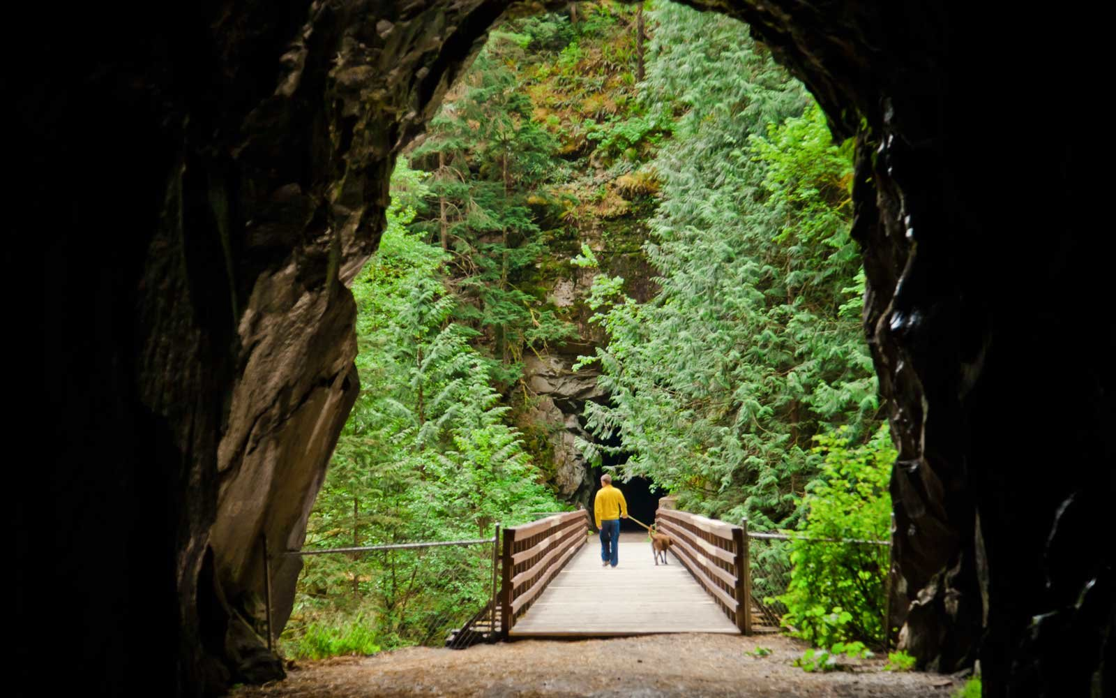 Othello Tunnels, historically a part of the Kettle Valley Railway near Hope, BC, Canada.