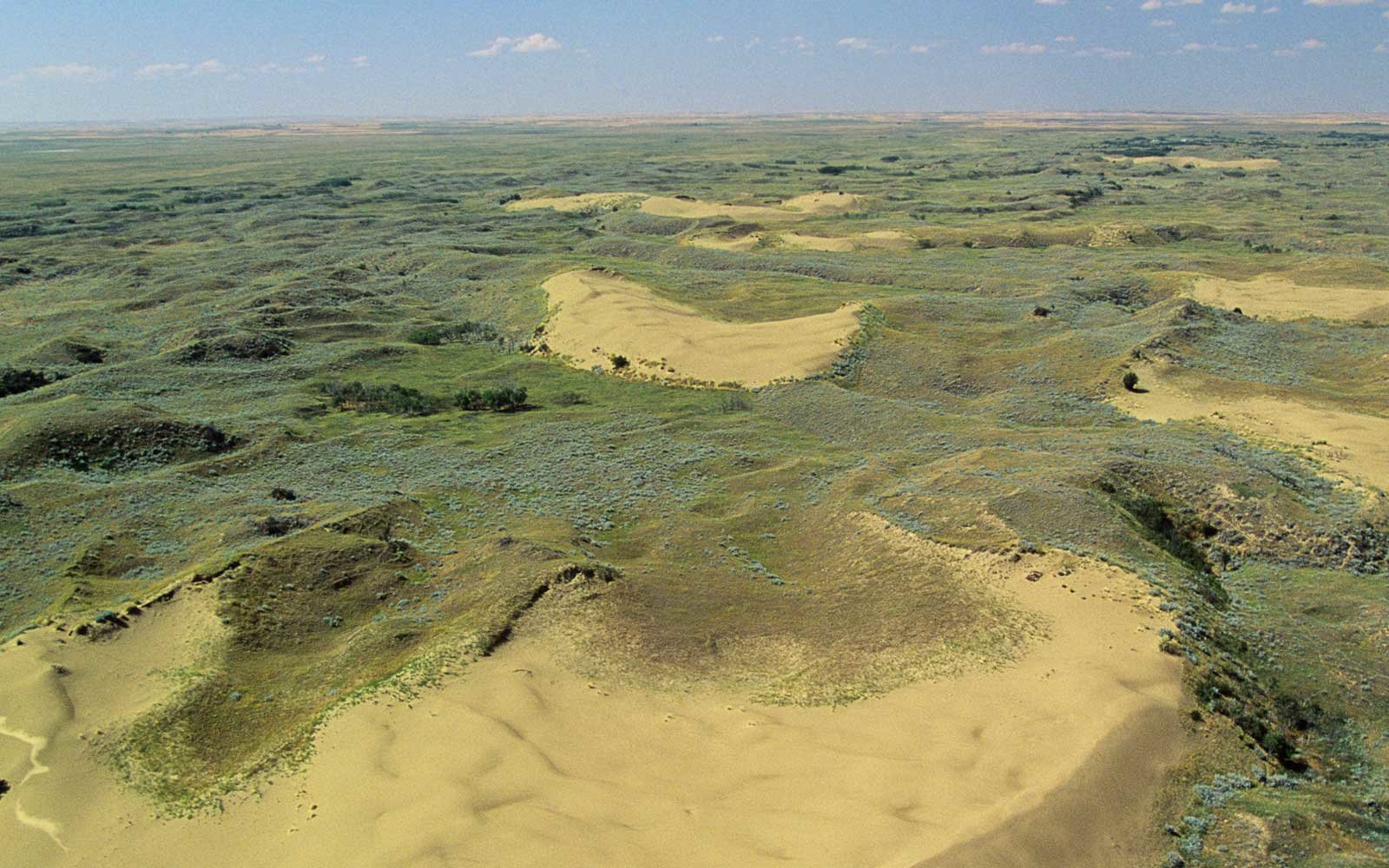 Aerial of the Athabasca Sand Dunes, Saskatchewan, Canada.